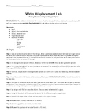 Density Water Displacement Lab