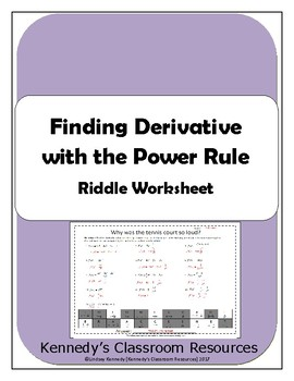 Finding Derivative with the Power Rule - Riddle Worksheet