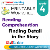 Finding Detail in the Story Printable Worksheet, Grade 4