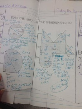 Finding Diagonals in 2 and 3 dimensions using Pythagorean Theorem Foldable