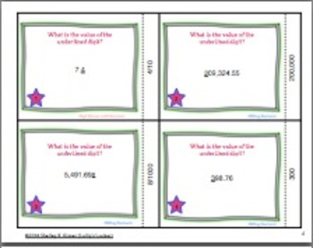 Finding Digit Value in Decimals Task Cards