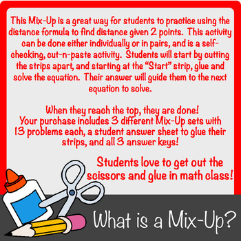 Finding Distance (from two points) Using the Distance Formula Mix-Up!