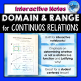 Finding Domain and Range for Continuous Relations Interactive Notebook Notes
