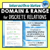 Finding Domain and Range for Discrete Relations Interactive Notebook Notes