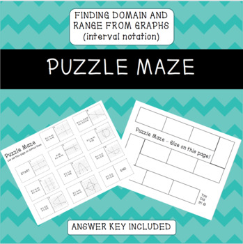Finding Domain and Range from a graph using INTERVAL notation Puzzle Maze