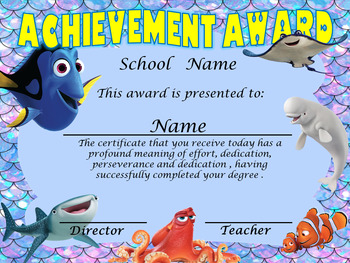 Finding Dory Achievement Award English & Spanish version Editable!!!