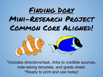 Finding Dory Mini-Research Project-Common Core Aligned for Middle School
