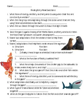Finding Dory Science Movie Questions