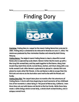 Finding Dory - informational article facts Nemo questions vocab word search