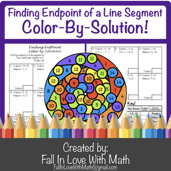 Finding Endpoint (of a Line Segment using Midpoint Formula) Color-by-Number!