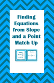 Finding Equations from Slope and a Point Match Up Activity