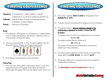 Finding Equivalence - 3rd Grade Math Game [CCSS 3.OA.C.7]