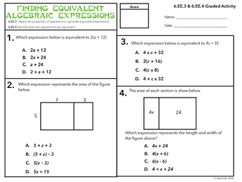 Finding Equivalent Algebraic Expressions (6.EE.3 & 6.EE.4)