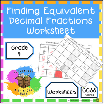 finding equivalent decimal fractions  worksheet nf  tpt