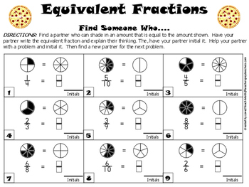 "Finding Equivalent Fractions- A ""Find Someone Who..."" Kagan Activity"