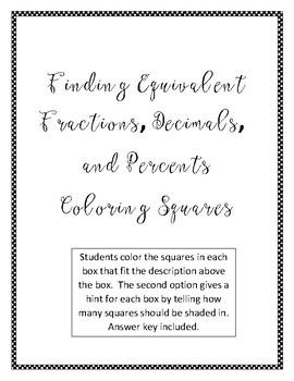 Dollar Deal! Finding Equivalent Fractions, Decimals, & Percents Coloring Squares