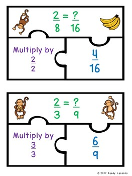Finding Equivalent Fractions Game Puzzles for 4th Grade Fraction Standard 4.NF.1