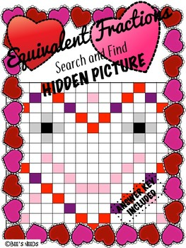 Finding Equivalent Fractions Valentine's Hidden Picture Search & Find