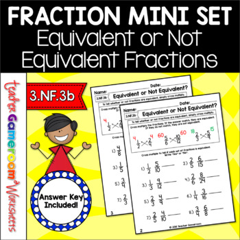 Fraction Mini Set Equivalent Or Not Equivalent Worksheet By Teacher