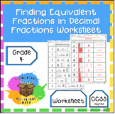 Finding Equivalent Fractions in Decimal Fractions Worksheet (4.NF.5)