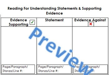 Finding Evidence Graphic Organizer