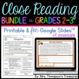 Reading Comprehension Passages and Questions Text Evidence Bundle