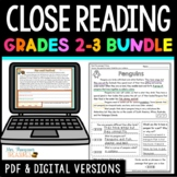 Reading Comprehension Passages and Questions Text Evidence Bundle + Digital