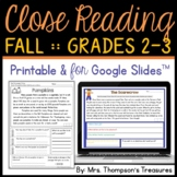 Fall Reading Comprehension Activities - Text Evidence & Inference + Digital