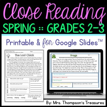 Finding Evidence & Making Inferences Reading Comprehension Passages - Spring