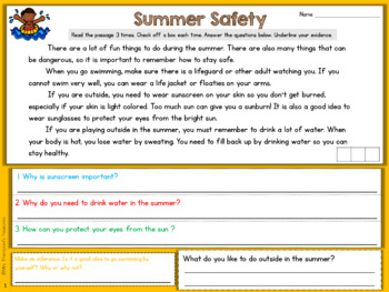 Reading Comprehension {Finding Evidence & Making Inferences} - Summer