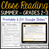 Summer Reading Comprehension - Text Evidence & Inference