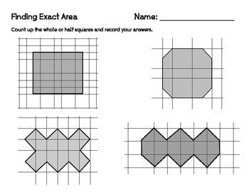 Finding Exact Area Worksheet