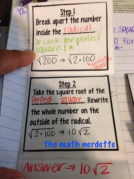 Finding Exact Square Roots Foldable and Practice for Interactive Notebooks