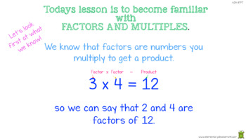 Finding Factor Pairs For Whole Numbers 1 to 100. (4.OA.4 PowerPoint)