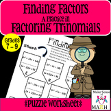 Factoring Trinomials Activity Middle School Math
