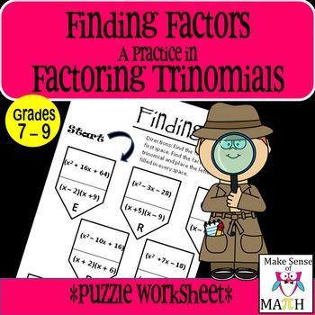 Factoring Trinomials Activity Middle School Math