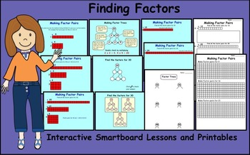 Finding Factors Interactive Smartboard Lessons and Printab