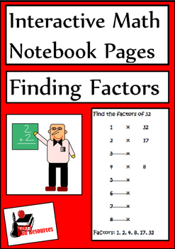 Finding Factors Lesson for Interactive Math Notebooks
