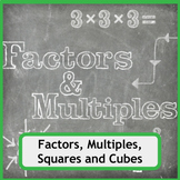 Finding Factors, Multiples, Squares and Cubes Worksheet Bundle