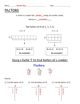 Finding Factors - Notes, Examples, Practice