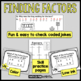 Finding Factors Task Card Set #1 with Riddle Code Answer Document
