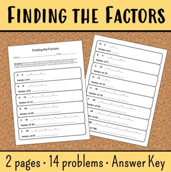 Finding Factors Worksheet 4... by Mrs Beaz | Teachers Pay Teachers
