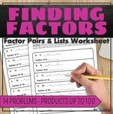 Finding Factors Worksheet 4.OA.B.4