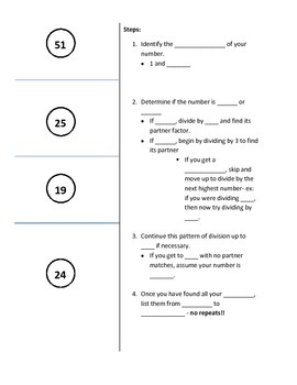 Finding Factors for Prime and Composite Numbers