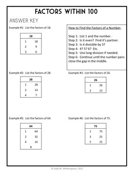 Finding Factors of Numbers within 100, 8 page Lesson Packet + Quiz, 4.OA.4
