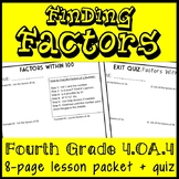 Finding Factors of Numbers within 100, 4th Grade Lesson Packet & Quiz, 4.OA.4
