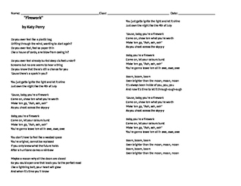 """Finding Figurative Language in Katy Perry's """"Firework"""""""