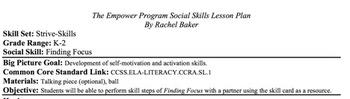 Finding Focus - Social Skills Lesson Plan