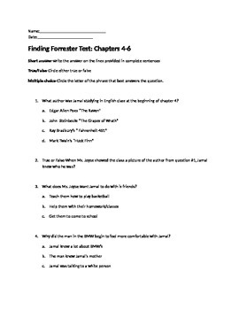 Finding Forrester Quiz on Chapters 4-6