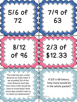 Finding Fractions CCSS 5.NF Task Cards Math Centers Activities